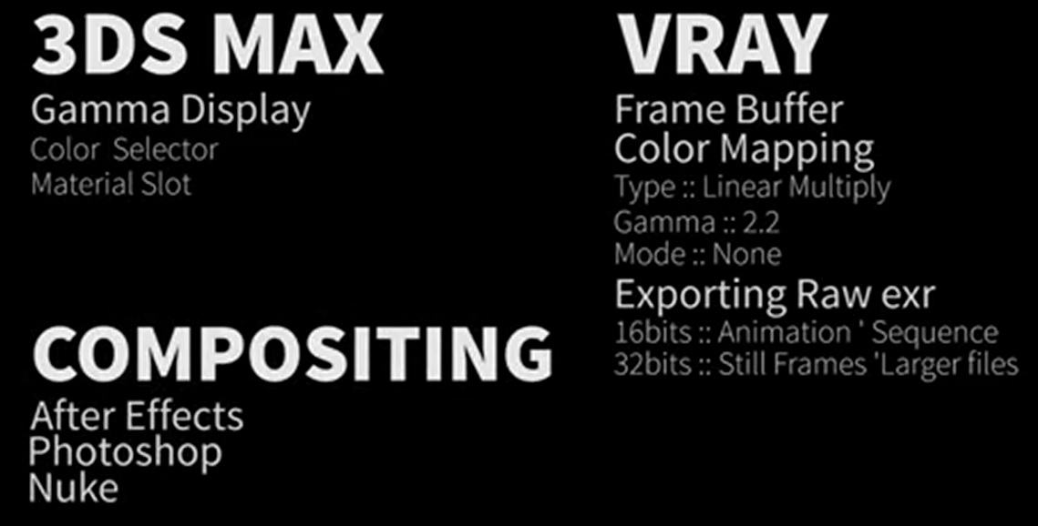 linear workflow gamma 2.2 setup in 3ds max and vray working with correct math