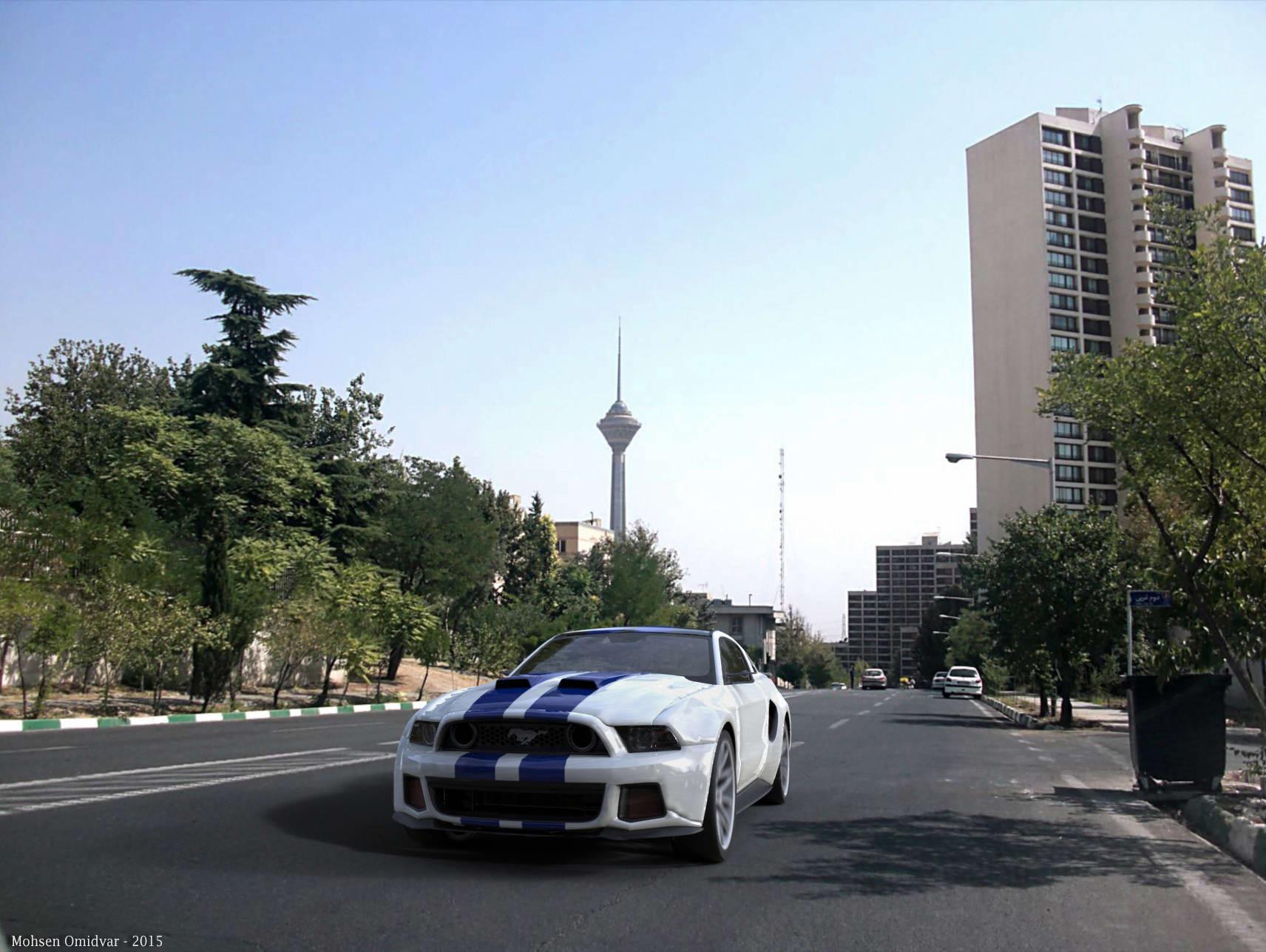 Mustang_GT - Mohsen Omidvar - آموزش تطبیق مدل با محیط و پس زمینه در تریدی اس مکس